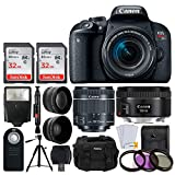 Canon EOS Rebel T7i DSLR Camera + EF-S 18-55mm f/4-5.6 is STM & EF 50mm f/1.8 STM Lens + 2X Telephoto & Wide Angle Lens + 64GB Memory Card + Slave Flash + Wireless Remote + Tripod + Accessories For Sale
