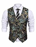 COOFANDY Mens Formal Paisley Dress Vests Dragon Graphic Fashion Waistcoat For Suit or Tuxedo