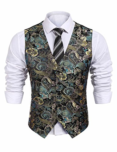 COOFANDY Mens Formal Paisley Dress Vests Dragon Graphic Fashion Waistcoat for Suit or Tuxedo(Black,L)