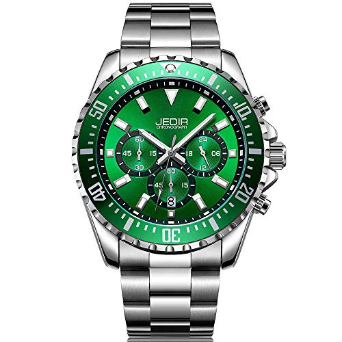 JEDIR Men's Multifunction Watches Analogue Chronograph Dress Wrist Watch Quartz Display Date Stainless Steel Strap (Silver/Green)