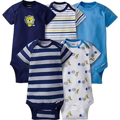 Gerber Baby Boys' 5-Pack Variety Onesies Bodysuits, Safari, Newborn