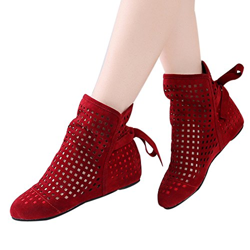 Booties For Womens Clearance Sale ,Farjing Women Boots Flat Low Hidden Wedges Cutout Ankle Boots Casual Shoes Cute Booties(US:8.5,Red ) by Farjing