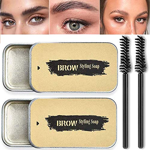 2 Pack Eyebrow Soap Kit, 4D Brows Gel Long Lasting Eyebrow Setting Gel Waterproof Eyebrow Makeup Balm Pomade Cosmetics