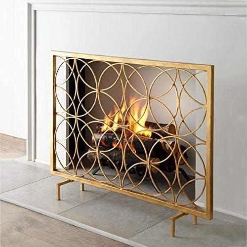 暖炉 スクリーン 鉄暖炉の装飾画面ゴールド - シングルパネル自立スパークガードカバー、リビングルームのための赤ちゃんの安全ストーブバリア、ワイド105センチメートル