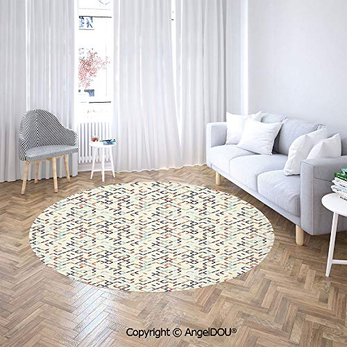 AngelDOU Round Carpets and RugsBedroom Living Room Tied Flower Petals in Soft Colors Spring Gardening Theme Daisies Daffodils Sofa Chair Decor Anti-Slip Floor Mats.