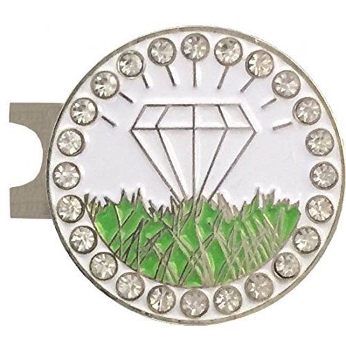 Giggle Golf Bling Diamond In The Rough Golf Ball Marker With A Standard Hat Clip Ball In Visor