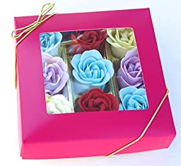 Charming Rose Scent Bath Bomb, Nine Colorful Rose Flower with Gift Box, 18go