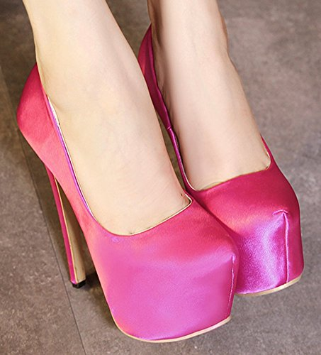 Easemax Dames Sexy Stiletto Lage Top Slip Op Ronde Neus Platform Hoge Hak Pumps Schoenen Rose Rood
