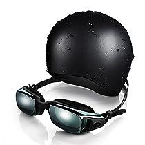 OMorc Schwimmbrille Schwimmkappe Set, OMore Erwachsene Premium Silikon 100% UV Schutz+ Antibeschlag Schwimmbrille mit Ergonomische Badehaube, Bademütze , Silicone Cap zum Schwimmen, Tauchen, Schnorcheln, Surfen für Männer und Frauen----Schwarz