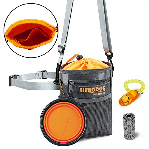 Dog Training Pouch Treat Bag Dual Compartments Insulated – with Poo Bag & Collapsible Travel Bowl & Pet Clicker – Travel Walking Bag (Grey) By HeroDog