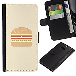 EuroTech - HTC One M8 - Burger Minimalist Hamburger Chef Cooking - Cuero PU Delgado caso Billetera cubierta Shell Armor Funda Case Cover Wallet Credit Card