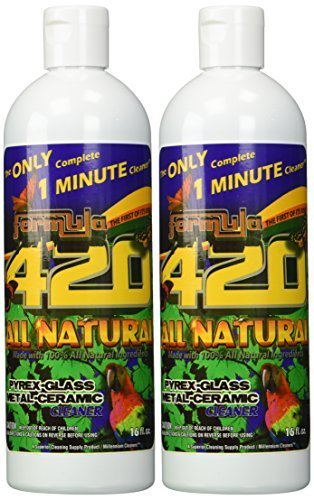 ALL NATURAL Formula 420 pirex-glass metal-ceramic cleaner, 2 Bottles, 16 Ounces Each (Formula 420 Glass)