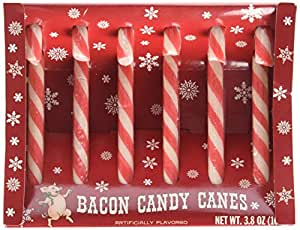 Archie McPhee Bacon Candy Canes, 3.8 Ounce, 6 Pack