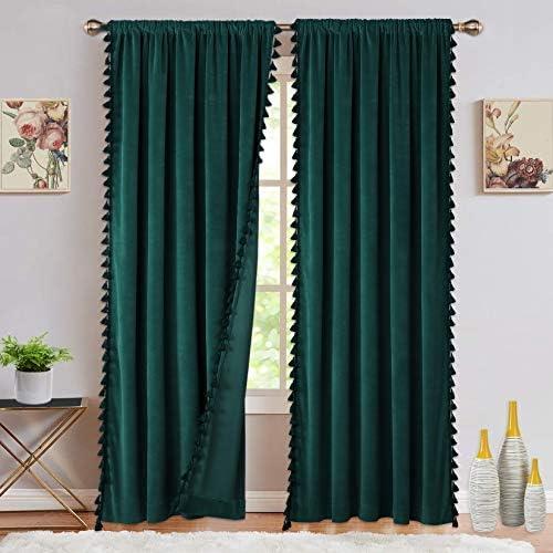Soft Luxury Velvet Curtains with Tassels Room Darkening Rod Pocket Window Curtains for Living Room Bedroom, Green, 42 x 63 Inch, 2 Panels