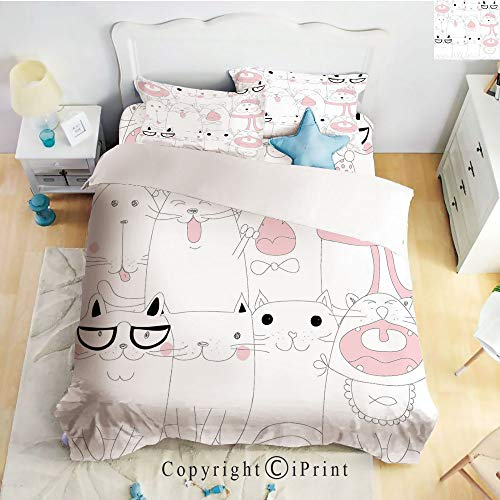 Homenon Classic Sheets 4 Piece Bed Sheet Set,Many Faced Bunch of Happy Sad Sleepy Sassy Cat Caricature Kids Nursery Theme,White Light Pink,Twin Size,Softest Bed Sheets and Pillow Cases