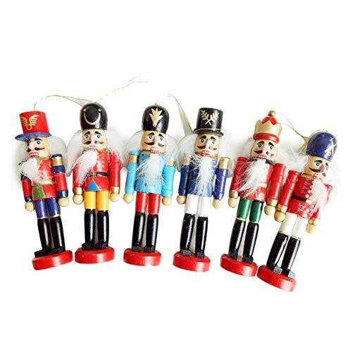 (Christmas Decorations Nutcracker Wooden Soldier Puppet 12CM Tin Toy 6-Piece Decorative Pendant Wooden Nutcracker Soldier Figurines Ornaments Puppets Figures Dolls Toy)