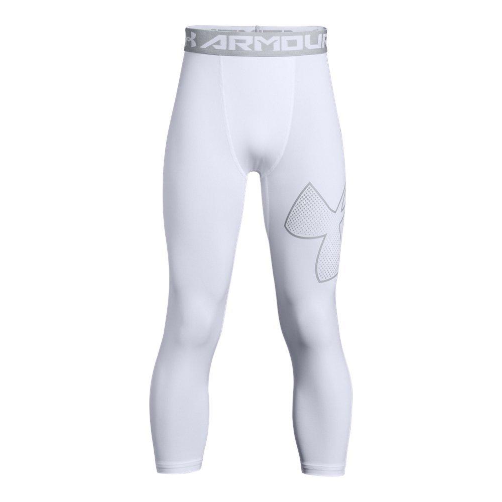 Under Armour Boys' HeatGear Armour Logo ¾ Leggings, White (101)/Overcast Gray, Youth X-Small