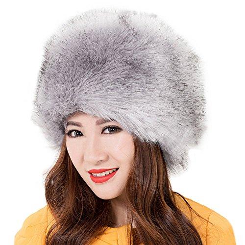 Kafeimali Women's Faux Fox Fur Russian Cossack Ski Christmas Caps Cable Knit Beanie (Gray) ()