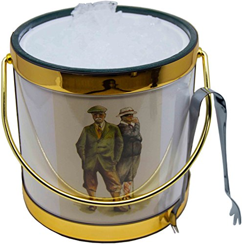 Hand Made In USA Double Walled 3-Quart Vintage Golfers Insulated Ice Bucket With Bonus Ice Tongs Metal 3 Qt Ice Bucket
