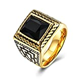 Epinki Gold Plated Men Ring Square Black Onyx Gold Black Cubic Zirconia Wedding Ring Size 7 Men Accessories