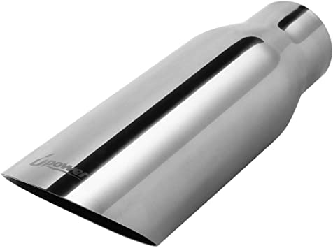 LIMICAR Diesel Exhaust Tip 2.5 Inlet 3.5 Outlet 12 Long Exhaust Tailpipe Tip Angle Cut Weld-on Design Stainless Steel Universal For Trucks Car