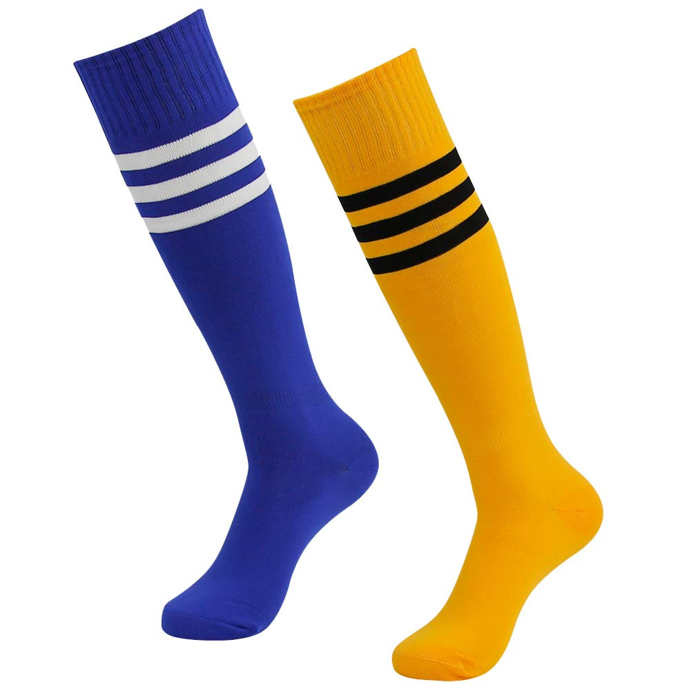 Long Tube Soccer Socks, SUTTOS Unisex Durable Comfort Knee High Stripe Sport Baseball Volleyball Lacrosse Softball Football Socks,2 Pairs-Yellow/Blue by SUTTOS