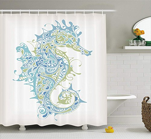 (SPXUBZ Animal Decor Greek Art Textured Ancient Seahorse Idol of Spiritual Life Cycle Artwork Light Blue Green Shower Curtain Waterproof Bathroom Decor Polyester Fabric Curtain Sets with Hooks)