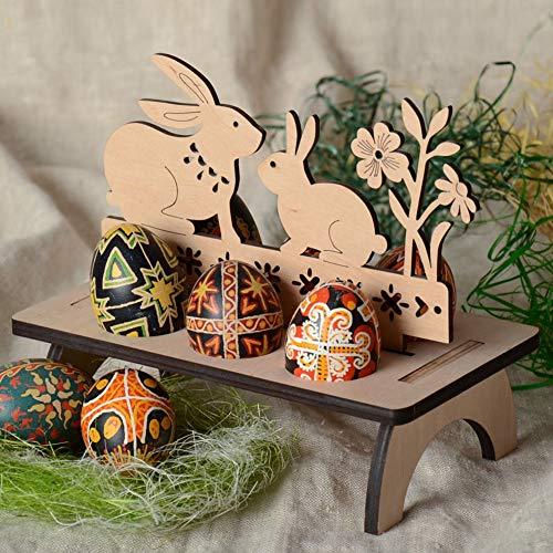 Zconmotarich Wooden Happy Easter DIY Rabbit Bunny Egg Slots Holder Home Party Desktop Decor ()
