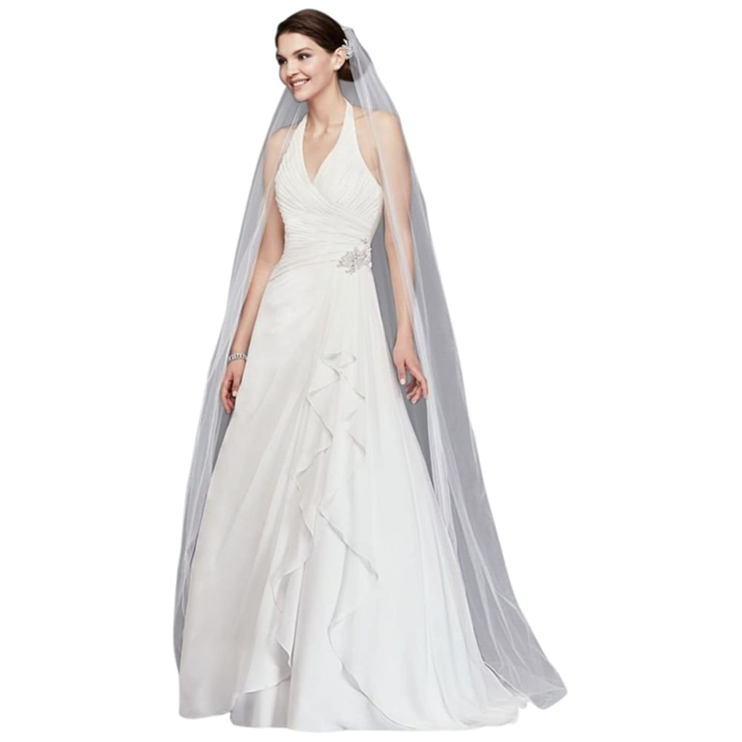 David\'s Bridal Pleated Chiffon Halter Wedding Dress with Ruffle ...