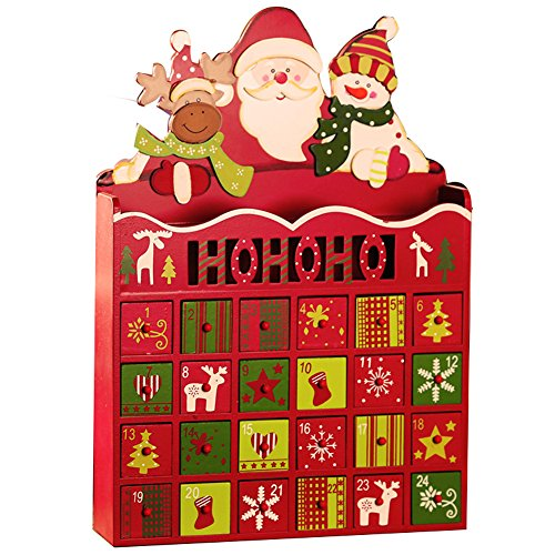(Christmas Wooden Advent Calendar with 24 Drawers for Christmas Decorations)