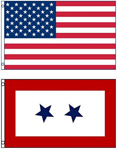 Mission Flags 3x5 ft. US American and US Blue Stars Two Serv