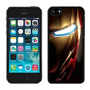 Iron Man Face Close-up Designed Black Rubber Cover Case For Iphone 5c TPU Phone Case (Laser Technology)