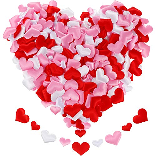 Tatuo 600 Pieces Valentine Confetti Fabric Heart Confetti Sponge Table Scatter for Wedding Valentine's Day Favors, 3 Colors in 2 Sizes
