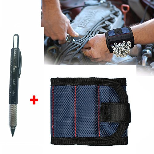 1Pcs Blue Magnetic Wristband with Strong Magnets for Holding Screws, Nails, Drill Bits,Add 1Pcs Multifunction Touch Screen Pen With Ruler,Spirit Level,Stylus Pen, Philips and Flathead Screwdriver