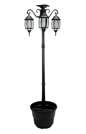 Amazon Com 6 7 Ft 80 In Tall Solar Lamp Post And Planter 3 Heads
