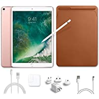 2017 New IPad Pro Bundle (5 Items): Apple 10.5 inch iPad Pro with Wi-Fi 64 GB Rose Gold, Leather Sleeve Saddle Brown, Apple Pencil, Mytrix USB Apple Lightning Cable and All-in-One Travel Charger