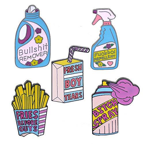Creative Plant Animal Fruit Enamel Lapel Pins for Women Girls Clothing Bag Decor (Creative Purple Series Pins- 5pcs)