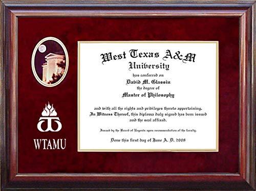 Wordyisms West Texas A&M University (WTAMU) Diploma Frame with Campus Photo and Logo