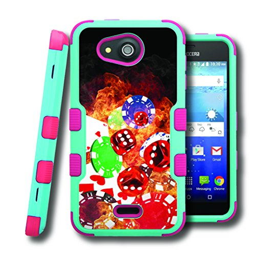 Hydro Wave Case, CASECREATOR[TM] For Kyocera Hydro Wave / Kyocera C6740 (T-Mobile, MetroPCS) -- NATURAL TUFF Hybrid Rubber Hard Snap-on Case Pink Teal Blue-Cards Dice Chips