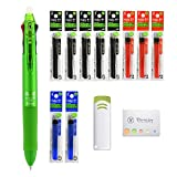 Pilot Frixion Erasable Pens / 3 Colors Ballpoint Pen 0.5 | Refills 10 packs and Frixion Eraser and Original Sticky Note complete set for Business, High school, University (Light Green Barrel)