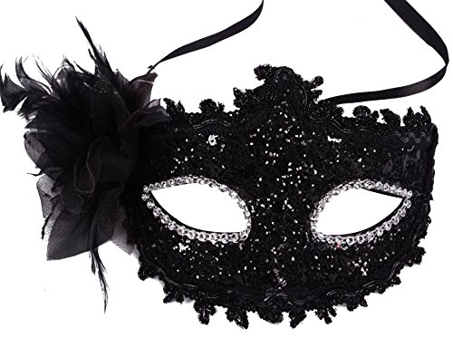 Classic Fancy Dressy Feather Floral Laced Masquerade Costume Mask,Black 6.7