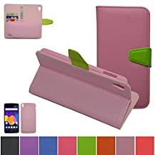 Alcatel One Touch Idol 3 (5.5 inch) Case,Mama Mouth [DETACHABLE Feature] Folio Flip Hard Case [Stand View] Premium PU Leather [Wallet Case] With Built-in Media Stand ID Credit Card / Cash Slots and Inner Pocket Cover For Alcatel One Touch Idol 3 (5.5 inch), Pink