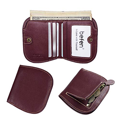 Befen Women's RFID Blocking Luxury Full Grain Genuine Leather Bifold Trifold Wallet Multi Card Organizer Holders for Ladies (Burgundy Bifold)