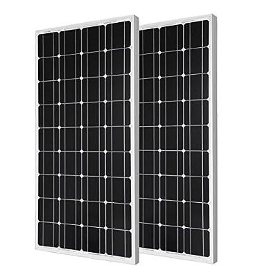 ECO-WORTHY 2pcs 100 Watt Monocrystalline Photovoltaic PV Solar Panel Module 12V Battery Charging for Solar Home