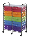 Blue Hills Studio Double Storage Cart with 20 Drawers, 25-1/2-Inch by 38-Inch by 15-1/2-Inch, Multi-Color