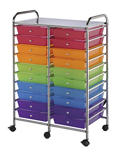 Blue Hills Studio SC20MCDW Storage Cart 20-Drawer (Standard) Multi-Colored ()