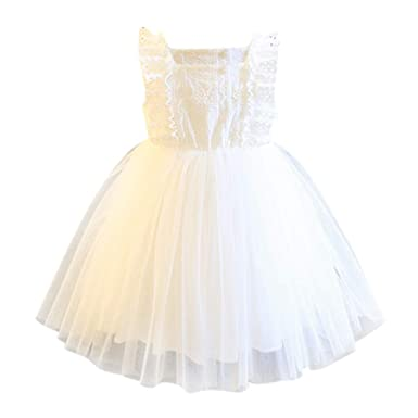 058f77655f595 Amazon.com: Little Girl Flower Lace Princess Dresses Birthday Ruffle Tulle  Dress for Communion Party Wedding: Clothing