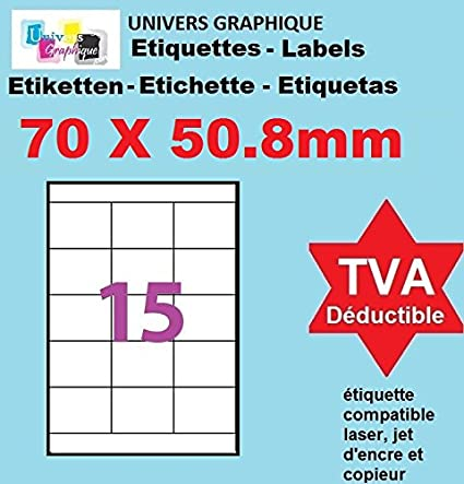 100 A4 hoja 15 pegatina 70 x 50,8 mm etiqueta adhesiva ...