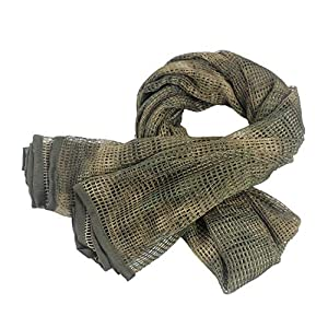 Wildoor Tactical Military Neck Scarf Mesh Net Sniper Veil Srim Net Cover Shemagh Head Face Wrap Multifunctional Army KeffIyeh for Airsoft Hunting Concealment 190cm x 90cm Camo Printed