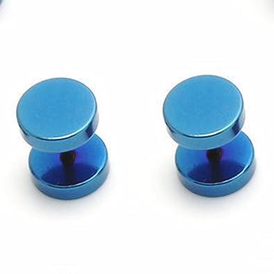 Cameleon-Shop-Pendientes de falsos Dilatador Plug de acero inoxidable azul, 12 mm: Amazon.es: Joyería